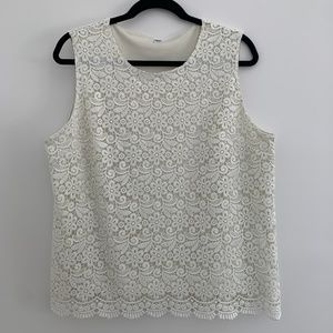 Uniqlo White Lace Tank Blouse with Lining